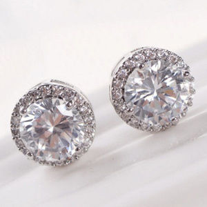 Other - 925 Silver Plated Crystal Halo Stud Earrings